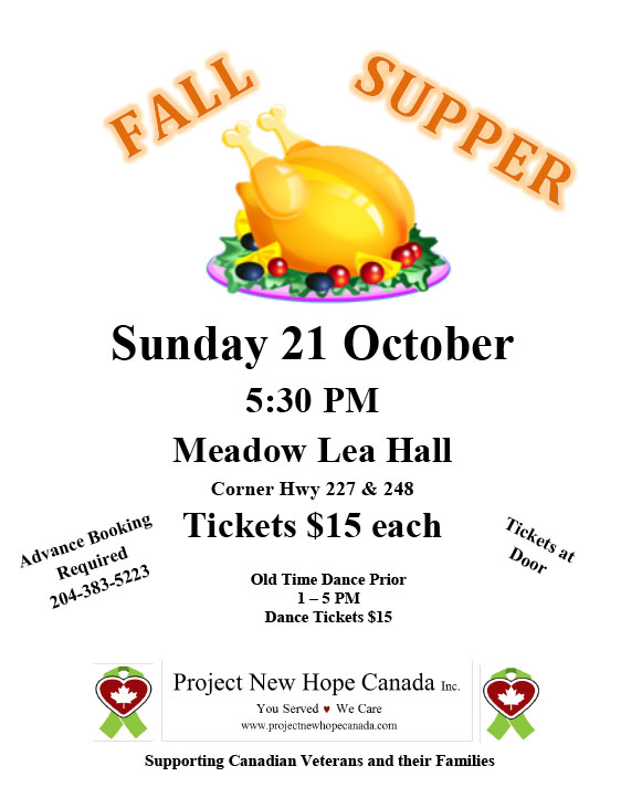Fall supper fundraiser poster.
